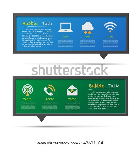 Network icon and 3D bubble talk blackboard. Illustrator EPS10 - stock vector