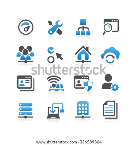 Network icon set - Flat Series - stock vector