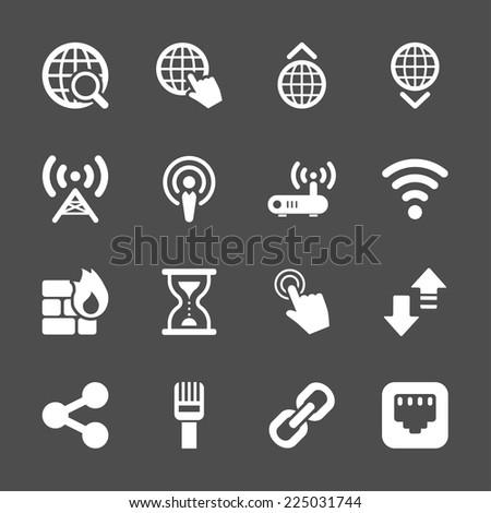 network icon set, vector eps10. - stock vector