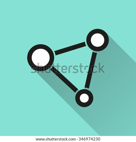 Network   icon with long shadow, flat design. Vector illustration. - stock vector