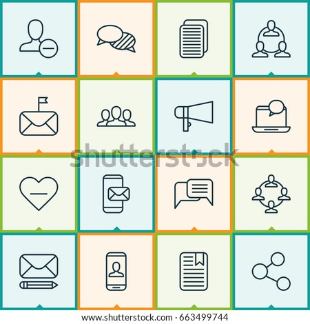 Network Icons Set. Collection Of Internet Site, Significant Letter, Online Chatting And Other Elements. Also Includes Symbols Such As Remove, Internet, Bullhorn.
