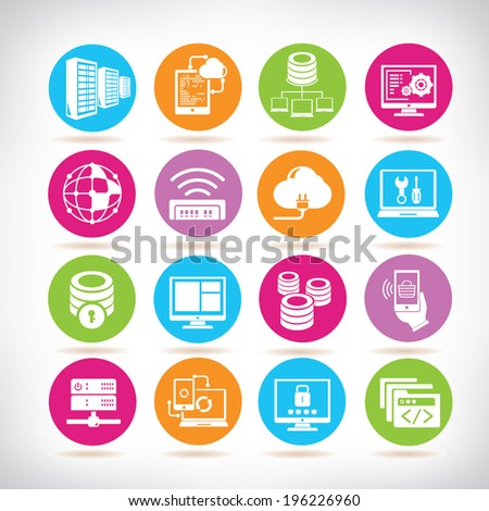 network icons set, colorful buttons - stock vector