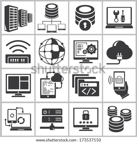 network icons set, information technology icons - stock vector