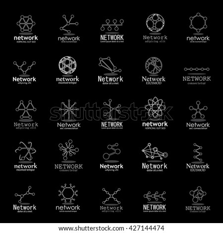 Network Icons Set - Isolated On Black Background - Vector Illustration, Graphic Design  - stock vector