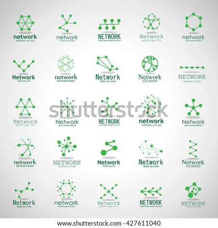 Network Icons Set - Isolated On Gray Background - Vector Illustration, Graphic Design  - stock vector