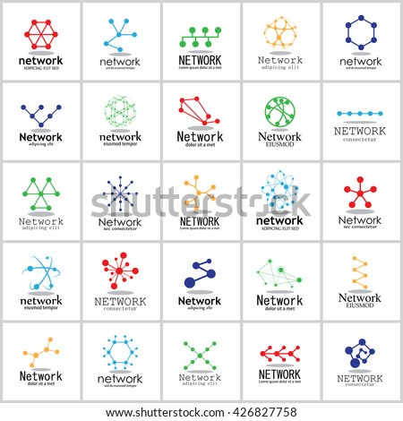 Network Icons Set - Isolated On White Background - Vector Illustration, Graphic Design  - stock vector