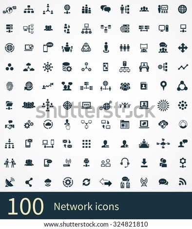 network 100 icons universal set for web and mobile