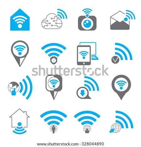 network icons, wireless icons set - stock vector