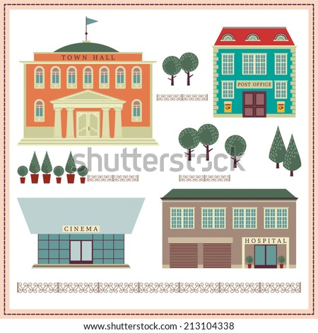 Network illustration with buildings and elements. Town Hall. Hospital. Cinema. Post office. - stock vector