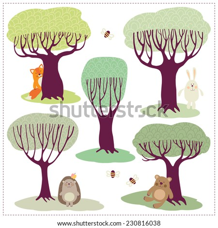 Network illustration with trees and animals. - stock vector