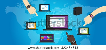 network lan local area networking laptop connect computer ethernet wide - stock vector