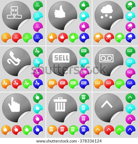 Network, Like, Cloud, Receiver, Sell, Cassette, Hand, Trash can, Arrow up sign icon. A set of seventy two colorful round buttons, stickers. Vector illustration - stock vector