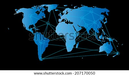Network link on world map