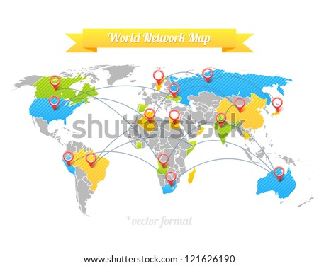 Network Map. - stock vector