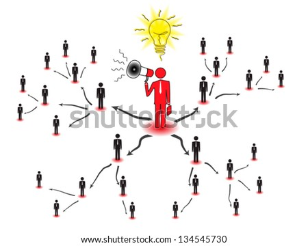 Network marketing is based on the transfer of ideas and information. Drawing represents a concept of multi-level marketing. - stock vector