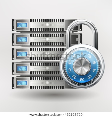 Network safety icon - server closed with padlock, database security. Password requirement or access denied. EPS 10 contains transparency. - stock vector
