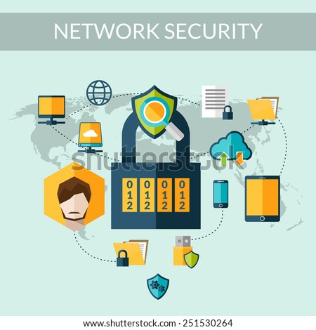Network security concept with padlock and world map on background vector illustration - stock vector