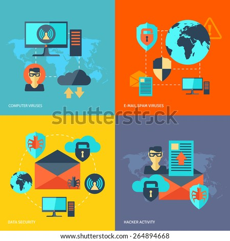 Network security design concept set with computer viruses e-mail spam hacker activity flat icons isolated vector illustration - stock vector