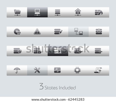 Network & Server // Classic Series +++ It includes 3 buttons states in different layers. +++ - stock vector