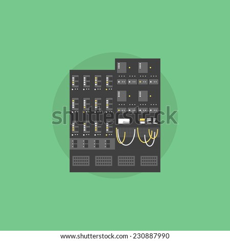 Network server data array, mainframe hosting computer, supercomputer rack unit. Flat icon modern design style vector illustration concept. - stock vector