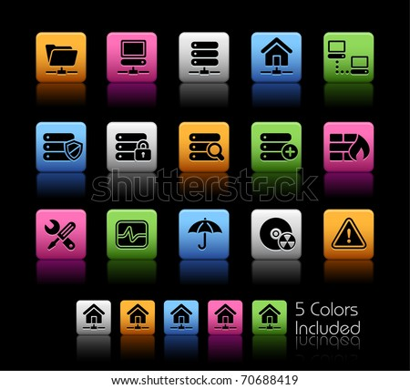 Network, Server & Hosting // Color Box -------It includes 5 color versions for each icon in different layers --------- - stock vector