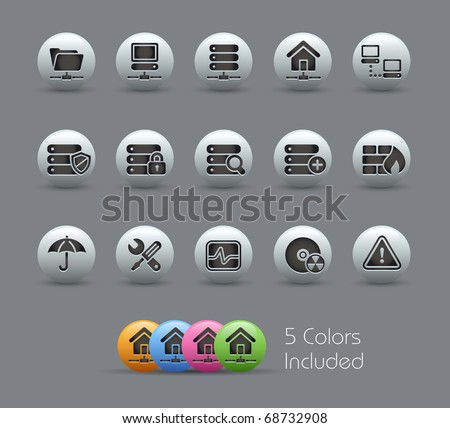 Network, Server & Hosting  // Pearly Series -------It includes 5 color versions for each icon in different layers --------- - stock vector