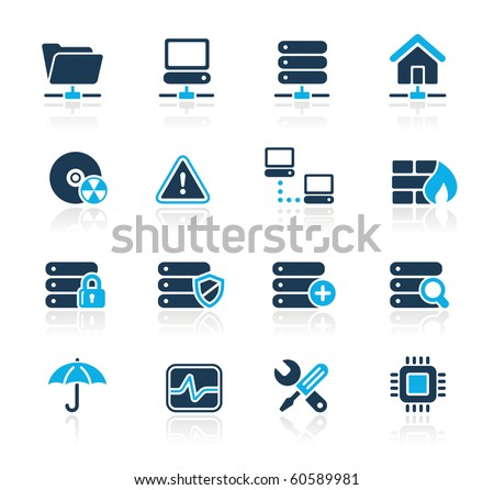 Network, Server & Hosting Web Icons // Azure Series - stock vector