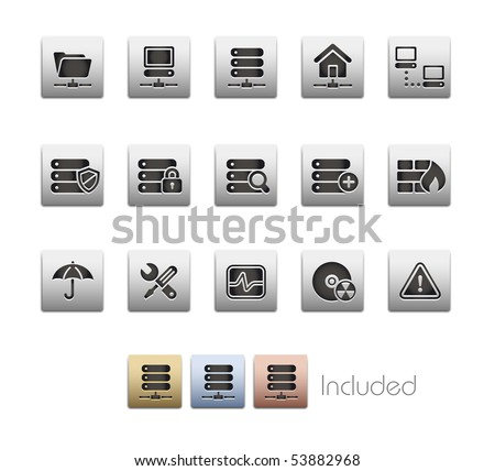 Network & Server // Metallic Series - It includes 4 color versions for each icon in a different layer. - stock vector