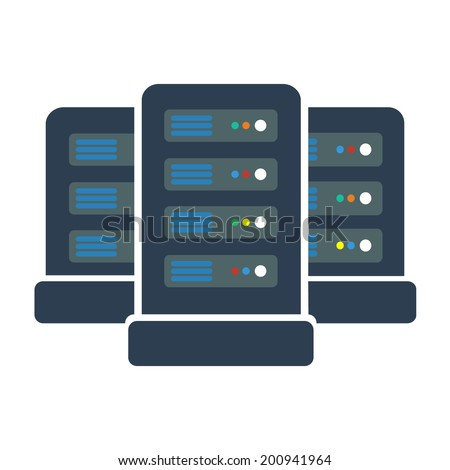 Network servers in data center icon. Flat design style. Vector EPS 10. - stock vector