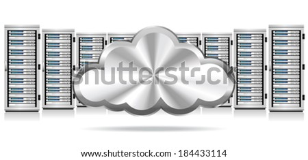 Network Servers with Cloud Icon - Information technology conceptual image  - stock vector