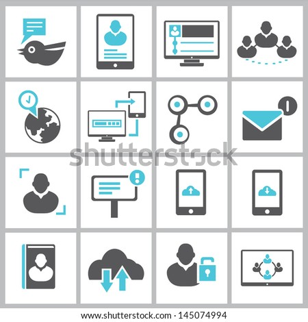 network, social media and communication icons - stock vector