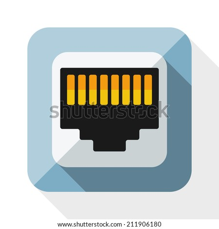Network socket icon with long shadow on white background - stock vector
