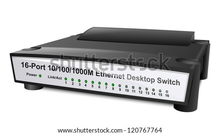 Network Switch or Router. Vector Illustration - stock vector