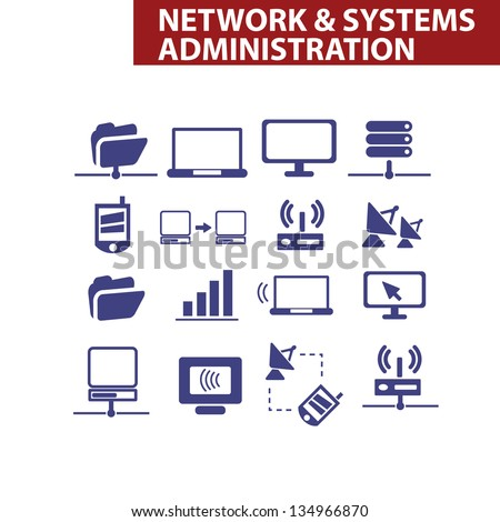 network & systems administration, organization icons set, vector - stock vector