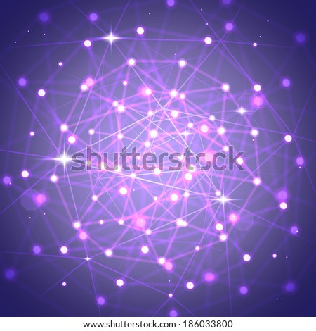 Network technology connections background with light effects. - stock vector