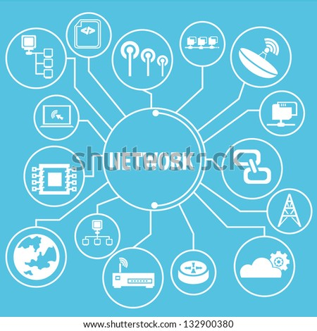 network template, network info graphics - stock vector