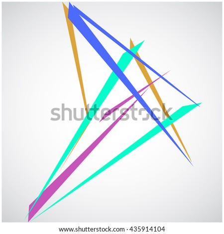 Network wallpaper illusion print outline triangles. Colorful Lines isolated on white modern background