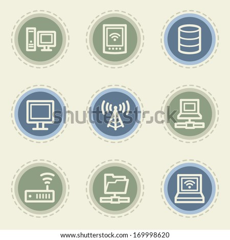 Network web icon set, vintage buttons - stock vector