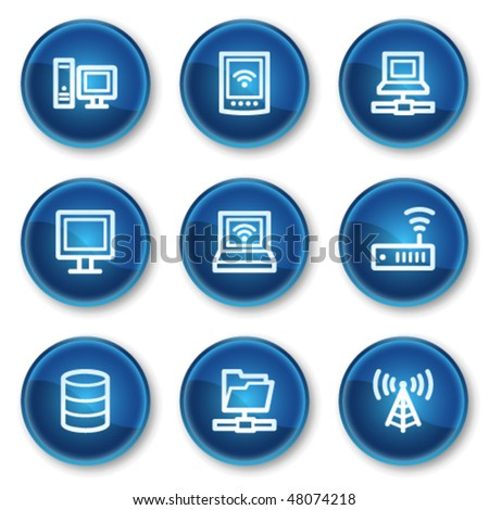 Network web icons, blue circle buttons - stock vector