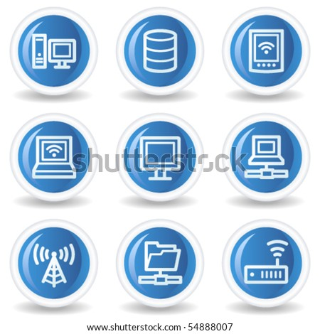 Network web icons, blue glossy circle buttons - stock vector