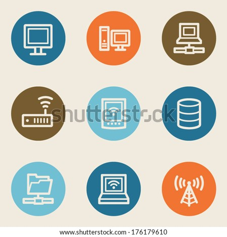 Network web icons , color circle buttons - stock vector