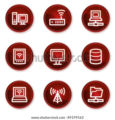 Network web icons, dark red circle buttons - stock vector