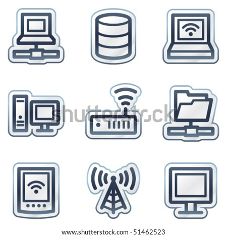 Network web icons, deep blue contour sticker series - stock vector