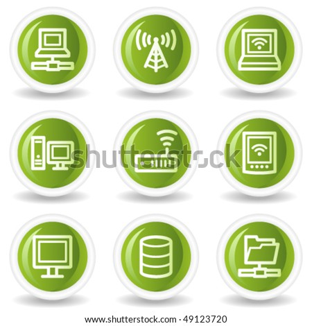 Network web icons, green circle buttons - stock vector