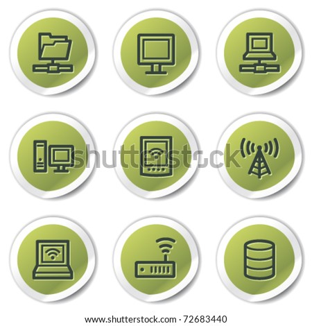 Network web icons, green circle stickers - stock vector