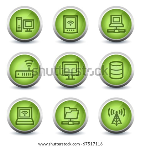 Network web icons, green glossy set - stock vector