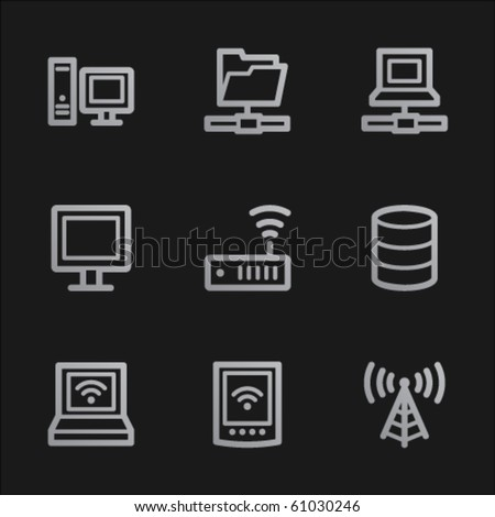 Network web icons , grey mobile style - stock vector