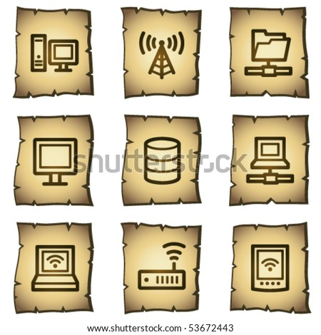 Network web icons, papyrus series - stock vector