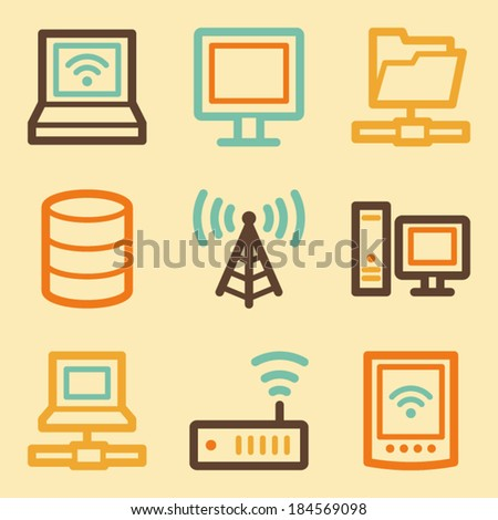 Network web icons set in retro style  - stock vector