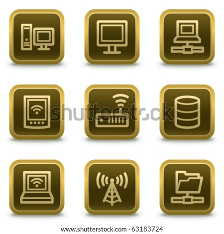 Network web icons, square brown buttons - stock vector